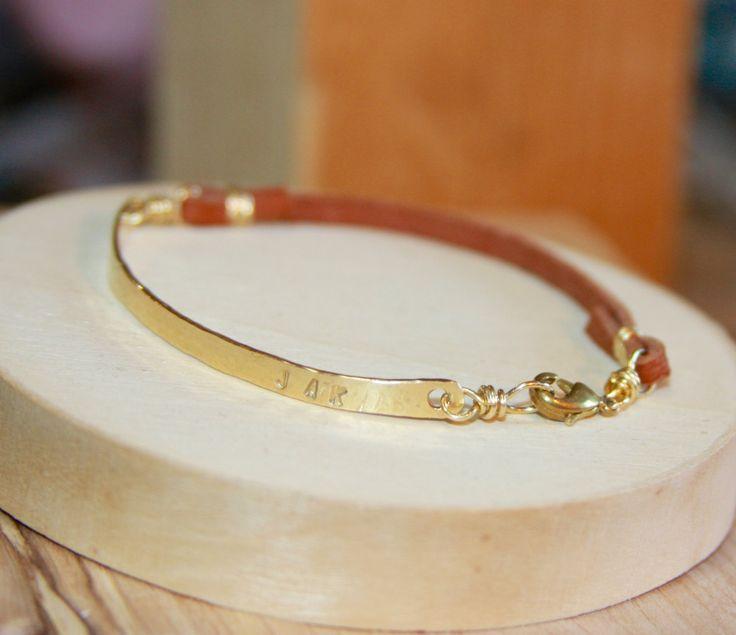 Personalized Leather Bracelet, Gold Initial Bracelet, Personalized Gold initial leather BRACELET, Initial Bracelet by BirchBarkDesign on Etsy