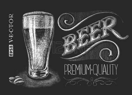 Ilustración vectorial de vaso de cerveza tiza en la pizarra. Eps8...