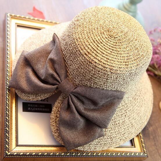 Straw Solid Ladies Cap Adjustable Bow Decoration Sun Hat Snapback Outdoor Sports Folding Gorras Hip Hop Women Sun Bonnet
