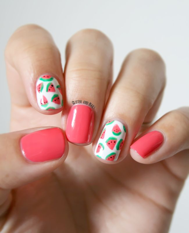 watermelon accented nails
