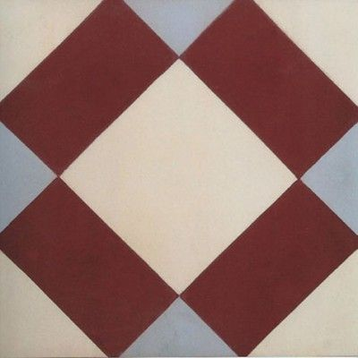 CDC » ENCAUSTIC CEMENT TILES IN STOCK Tile Ref. M062 (shows 1 tile) Matt finish – no glazing applied. In stock colour pigment. Suitable for internal and external applications subject to suitable sealant & frost prevention treatment.