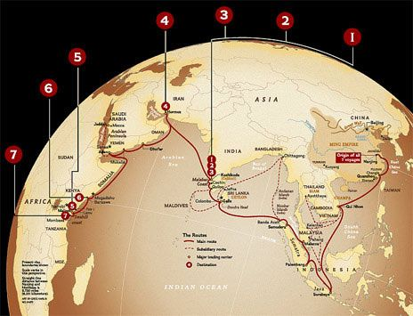 The voyages of Zheng He, 1405-33. From 1405 to 1433, the Chinese Ming dynasty launched seven voyages into the Indian Ocean under the admiralship of the Muslim eunuch Zheng He. Zheng sailed as far as the east coast of Africa, returning home with such exotic gifts as ostriches and giraffes. With 'Treasure Fleets' of more than three hundred ships crewed by tens of thousands of men, his expeditions were over a hundred times larger than those of Columbus and Magellan.