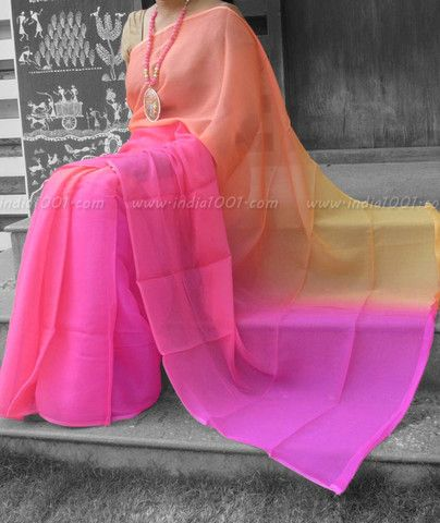 Designer Pure Chiffon Saree with Multi Hue Finish
