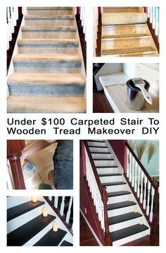 Under $100 Carpeted Stair To Wooden tread makeover DIY copy featured on remodelaholic.com #diy #staircase #makeover