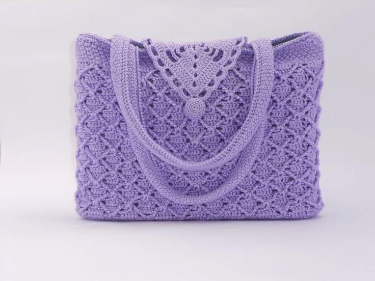 Crochet pattern of a handmade beautiful handbag with tunisian crochet detail lilac-coloured. €5.00, via Etsy.