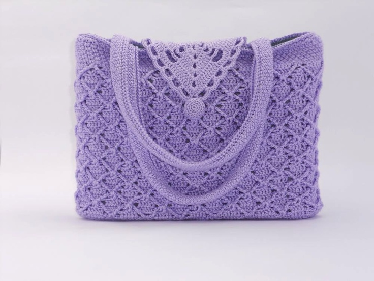 Crochet pattern of a handmade beautiful handbag with tunisian crochet detail lilac-coloured. €5.00, via Etsy.