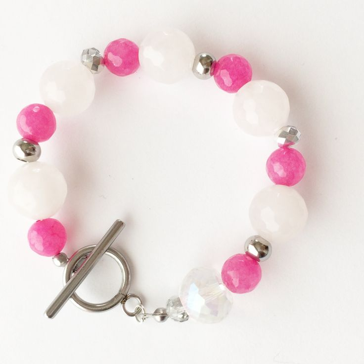 Natural stone braclet, sweet braclet, gift for mother, Christmas gift, Back to school gift, Pink and white braclet, small braclet