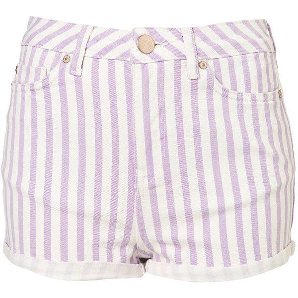 Petite Lilac Stripe Hotpants ($15) ❤ liked on Polyvore featuring shorts, bottoms, pants, purple, hot pants, micro shorts, petite shorts, hot shorts and purple hot pants