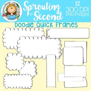 This is a set of 12 line art doodle frames, and a forever freebie. The frames are in assorted sizes and shapes. All are 300 dpi .png images.My TOU require commercial users to include my store logo in any commercial products including my clipart. You may not alter my clipart in any way, aside from resizing.