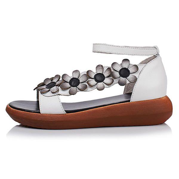 SOCOFY Women Flower Zipper Handmade Shoe Wedge Sandals - US$81.99
