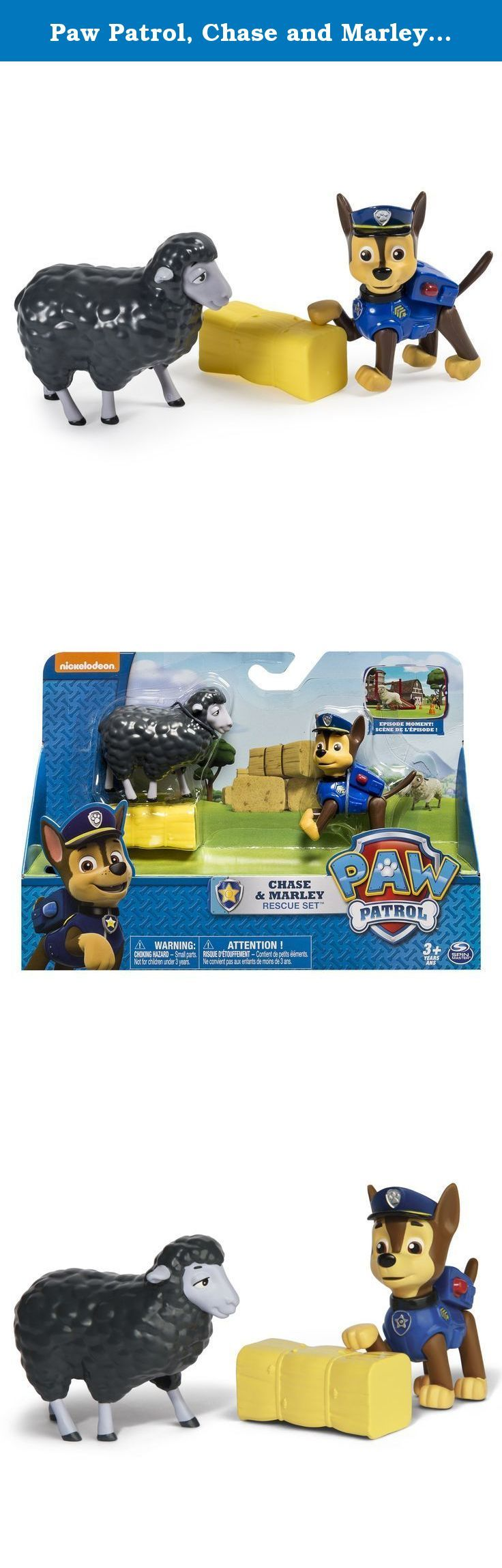 Paw Patrol, Chase and Marley Rescue Set. Chase is on the case! Marley the sheep needs help to win the competition. Chase is ready to use his real moving legs to herd the sheep and teach them how to jump over the bale of hay. Discover even more Adventure Bay rescue action with Marshall, Skye, Rubble and Rocky Rescue Sets. Bring home the Chase and Sheep Rescue Set and let your kids re-create all of their favorite rescues from the Paw Patrol TV show! No job is too big, no pup is too small!.