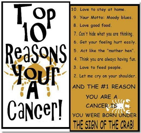 Top 10 reasons your a cancerZodiac Signs, Numbers 2, Cancer Horoscope, Tops 10, Signs Quotes, Cancer Signs, Cancer Zodiac, Crabs, Zodiac Cancer