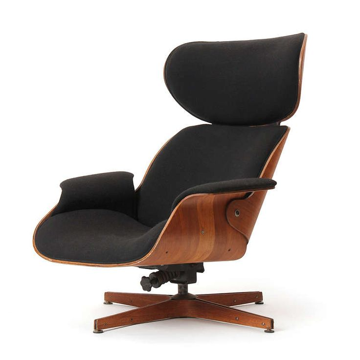 George Mulhauser; Walnut Frame Swiveling Lounge Chair for Plycraft, 1960s.