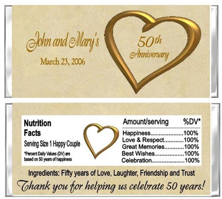 50th Anniversary Wedding Candy Wrappers Party Favors Custom Personalized picclick.com