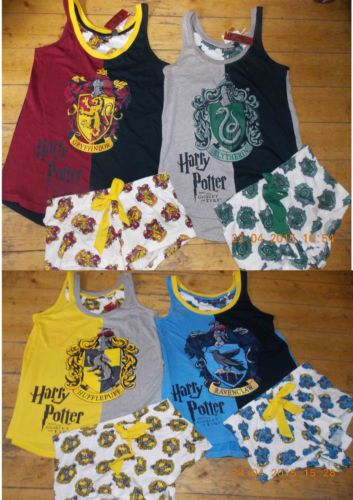 HARRY-POTTER-Ladies-Pyjamas-HOGWARTS-HOUSE-CRESTS-Vest-T-Shirt-Shorts-Primark
