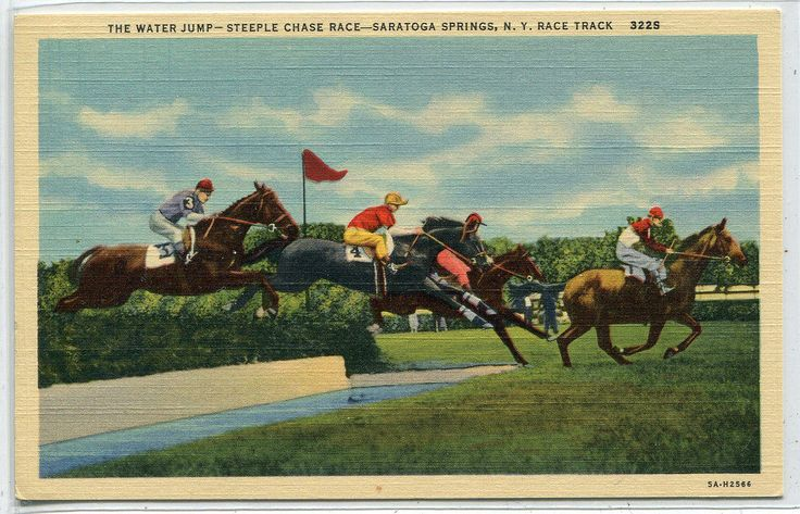 Horse Racing Steeple Chase Water Jump Track Saratoga Springs New York postcard