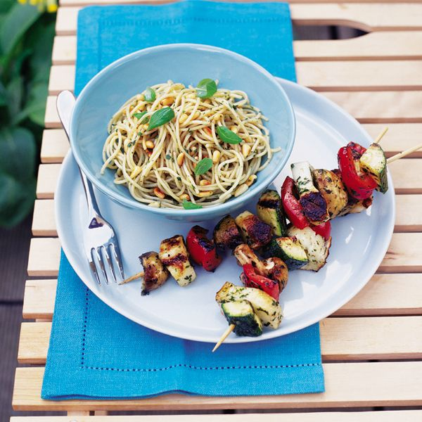 This haloumi and roasted veg kebab recipe makes the perfect vegetarian barbecue offering.