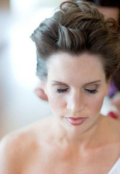#brunette #updo Hair styling and Airbrush Makeup by Holly Kasprisin lead artist @ www.chicagobridalhairandmakeup.com