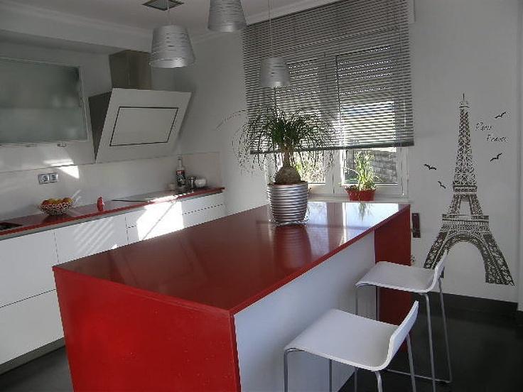 Cocinas blancas y rojas cocinas pinterest - Cocinas rojas modernas ...