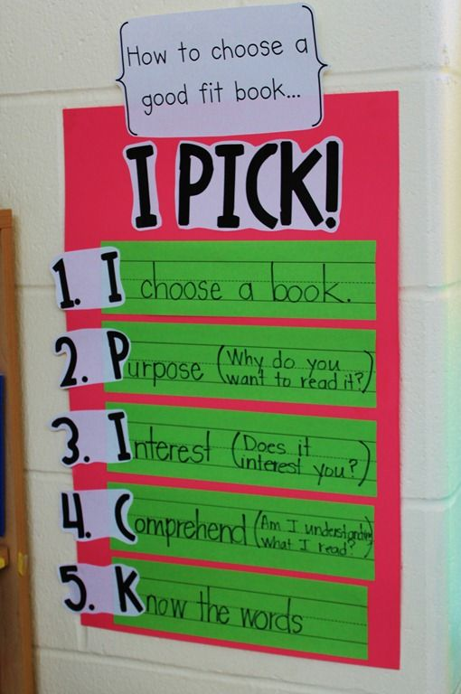 Daily 5!: Book Poster, Anchor Charts, I Pick, Reading Center, Classroom Ideas, Good Fit Book, Pick Book, Language Arts