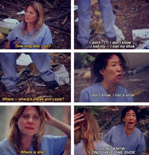 Cristina Yang and her shoe i died laughing at this part despite the horribleness of the situation