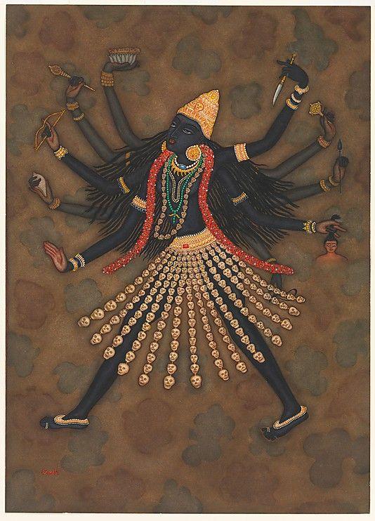 Kali // Y.G. Srimati (Indian, 1927-2007), c. 1990,  Watercolor, graphite underdrawing via Metropolitan Museum of Art