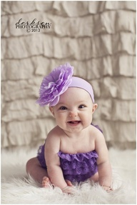 6 month baby picture idea with curtains as background- she has ruffled curtains in her room, an outfit like this and headband!