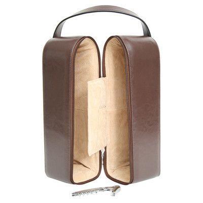 Royce Leather Personalized Garnett Genuine Leather Wine Case