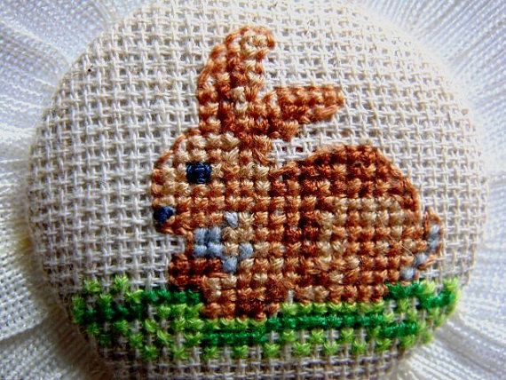 Hand embroidered brooch Rabbit with beige fringing. от MaRenaMaRa