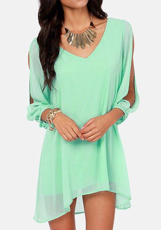 Green Plain Hollow-out Split Sleeve Chiffon Dress