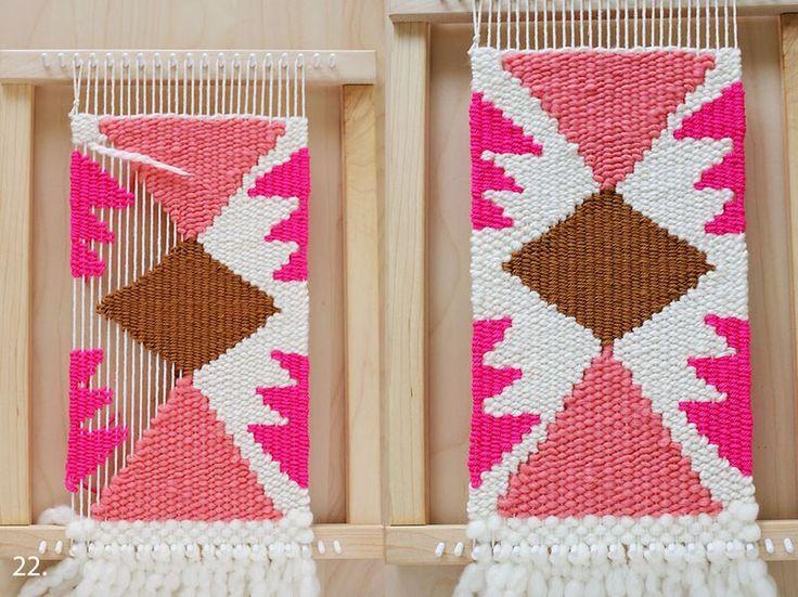Rachel Denbow tutorial at ABM- weaving shapes #Decoración #Tejidos #Textiles #Inspiración #Colores #DIY #Ideas #Hogar #100to14