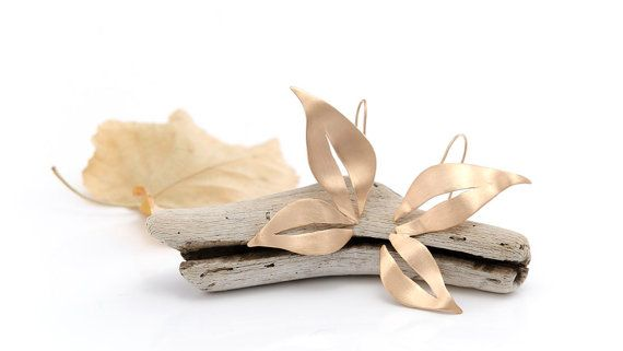 Leaves Earrings Autumn Gold Plated Leaves by AnVhandmadecreations
