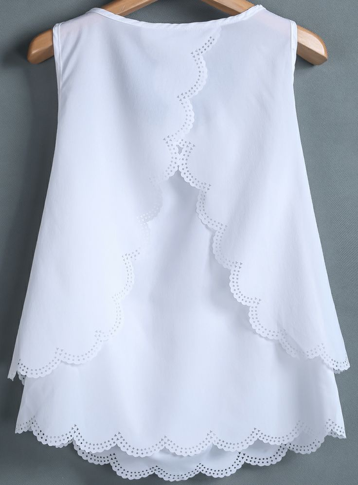 White Sleeveless Back Split Chiffon Vest - Sheinside.com