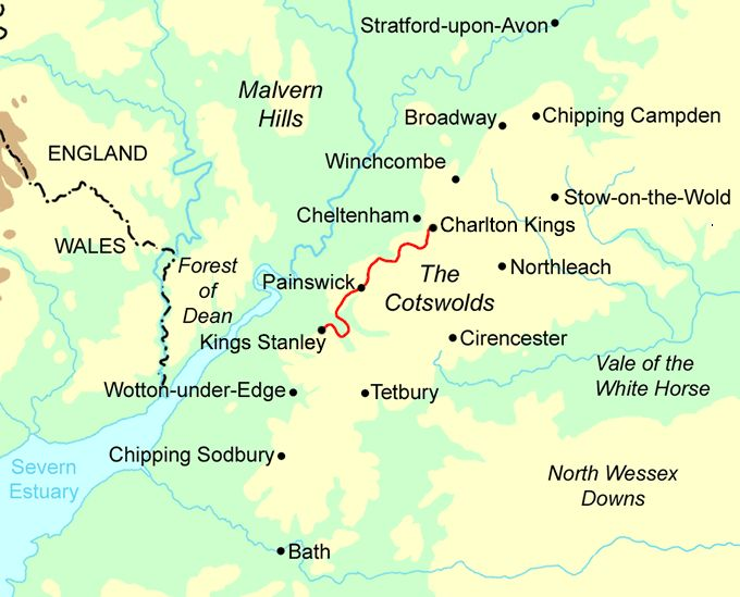 Image result for map of cotswolds england