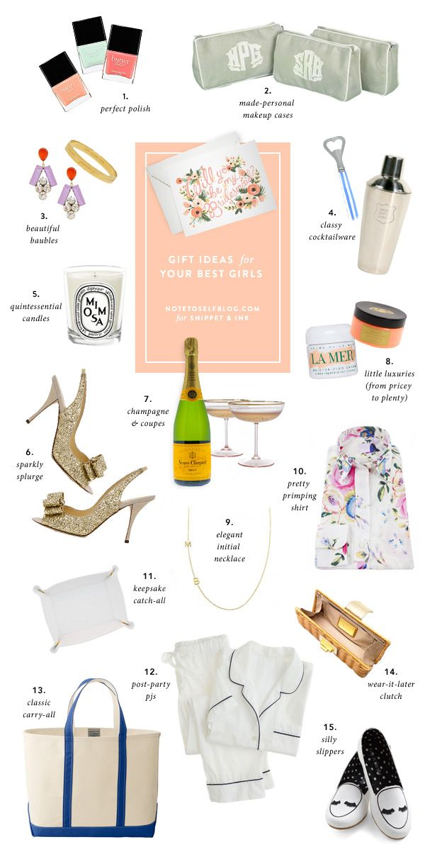Thoughtful Bridesmaid gifts from Sarah at Note To Self Via Snippet & Ink