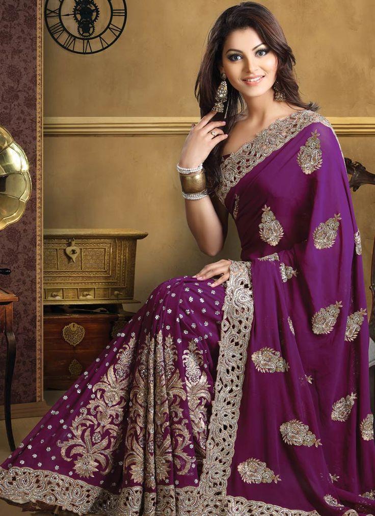 Beautiful Purple Pure Georgette Saree #Cbazaar....absolutely love it!