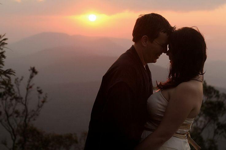 Bride & Groom, Pink sunset, mist, silhouette