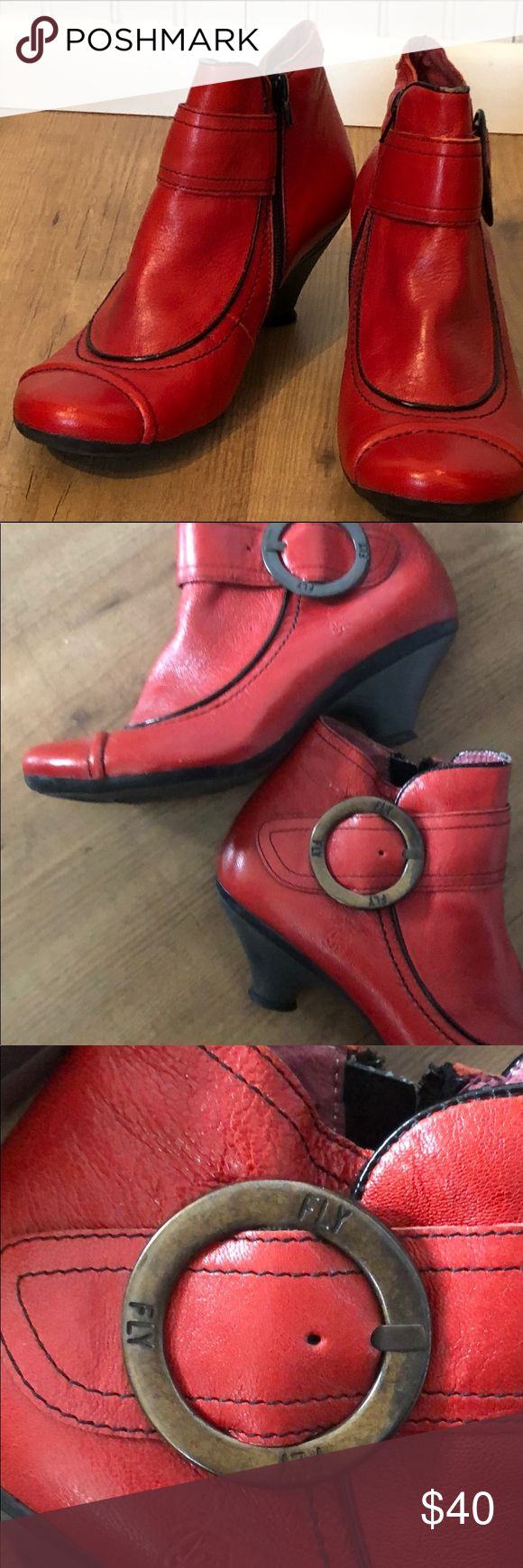 """Gorgeous Fly London Red Low Heel Boots Size 38 lipstick red Fly London boots. Zipper opening, low 1"""" heel with brass buckle. In great almost new condition Fly London Shoes Ankle Boots & Booties"""