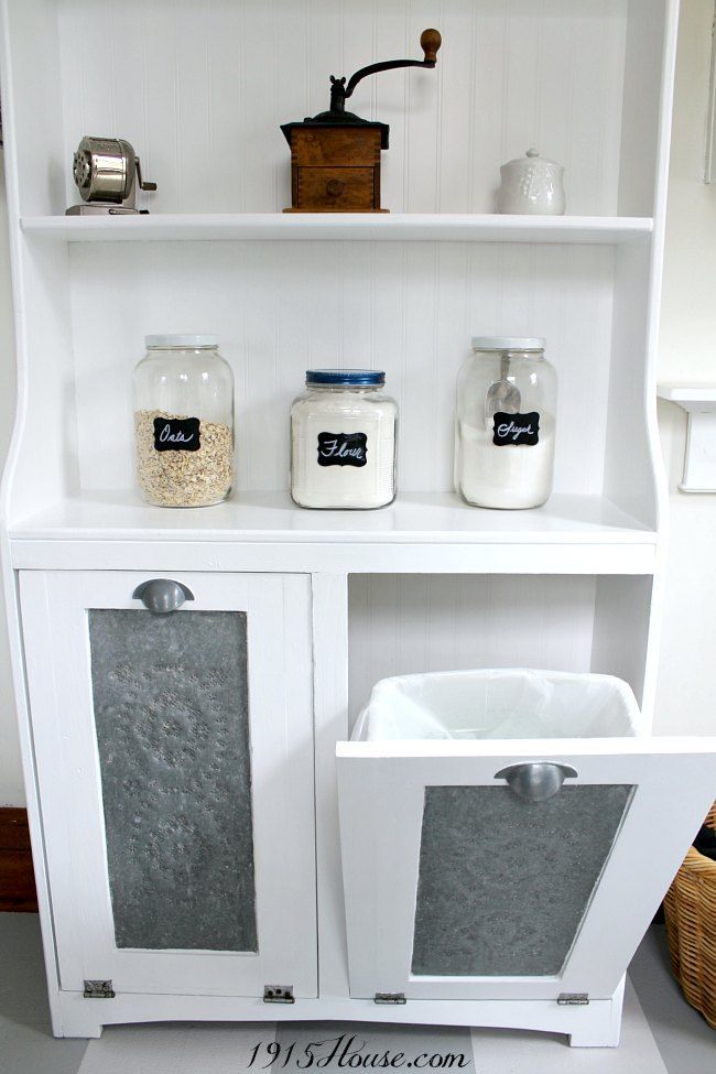 1915 House | Americana Decor Satin Enamels Garbage Can Storage Unit Makeover #decoartprojects