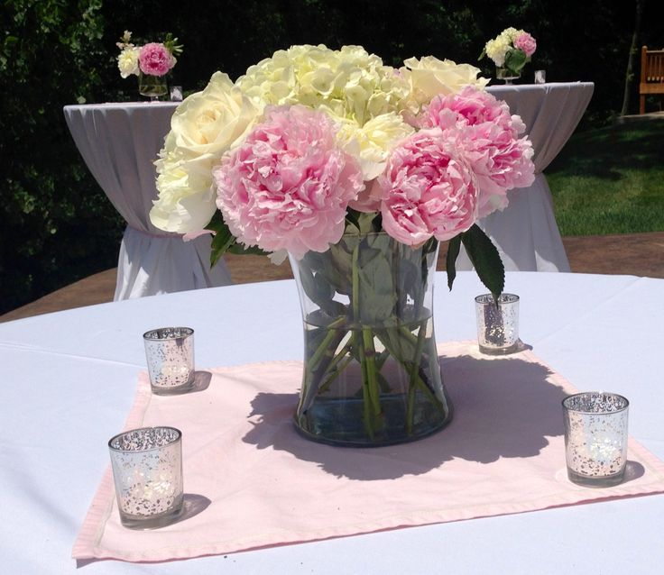 Pink and white flowers for pink baby girl shower