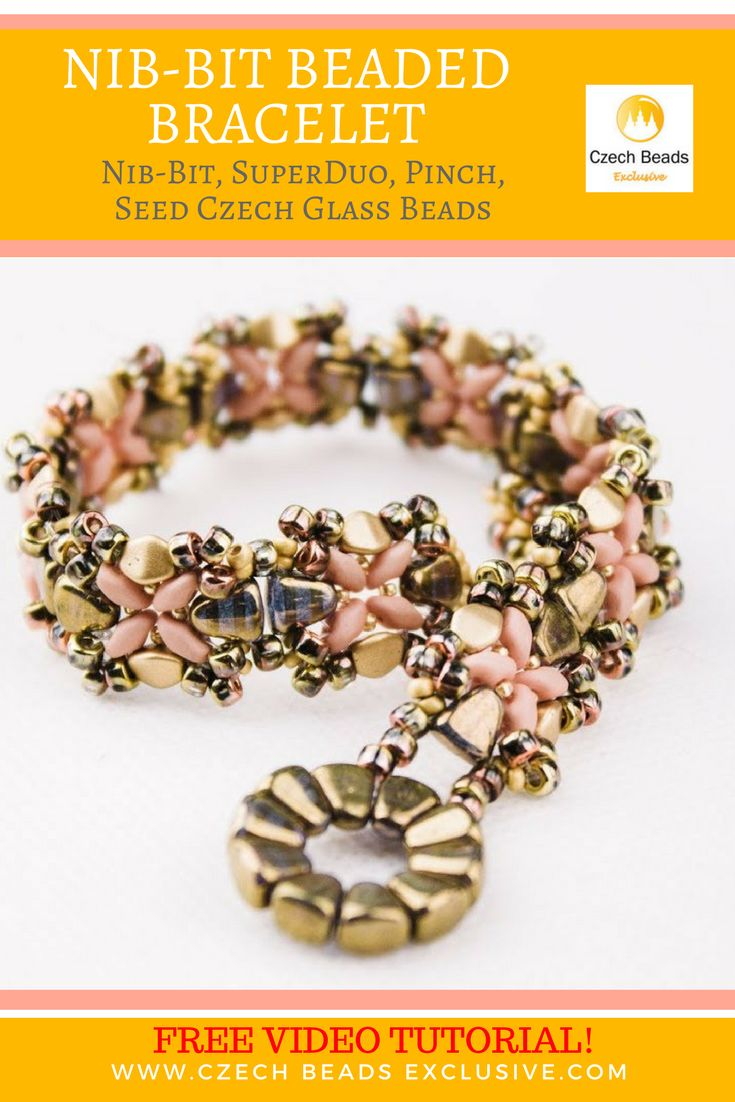 Nib-Bit, SuperDuo, Pinch, Seed Czech Glass Beads � Beaded Bracelet Free Pattern Video Tutorial SAVE IT! #czechbeadsexclusive #czechbeads