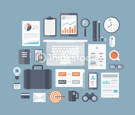 Vector Art : Business items flat icons set