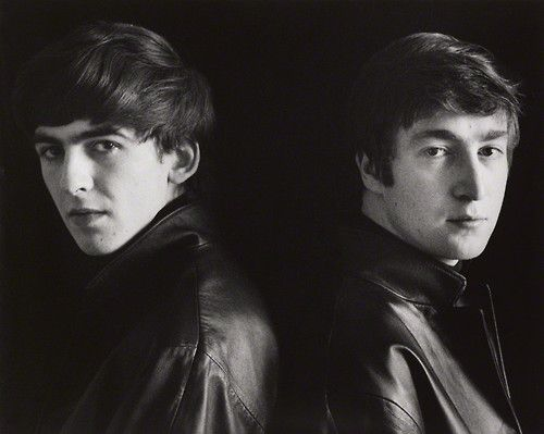 """George Harrison and John Lennon, Hamburg, 1962, photographed by Astrid Kirchherr """"December 9, 1980. The police and media have gathered in ... The #Beatles #Quiz"""