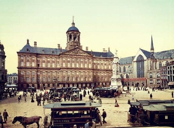 1890s Amsterdam Square Palace & Church Photo