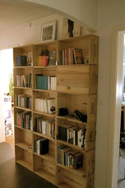 Recycled wine box shelving - i could use this as the shelving in my office