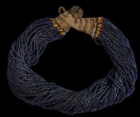 Multiple-Strand Dark Blue Glass Bead Necklace Naga People, India/Burma circa 1930