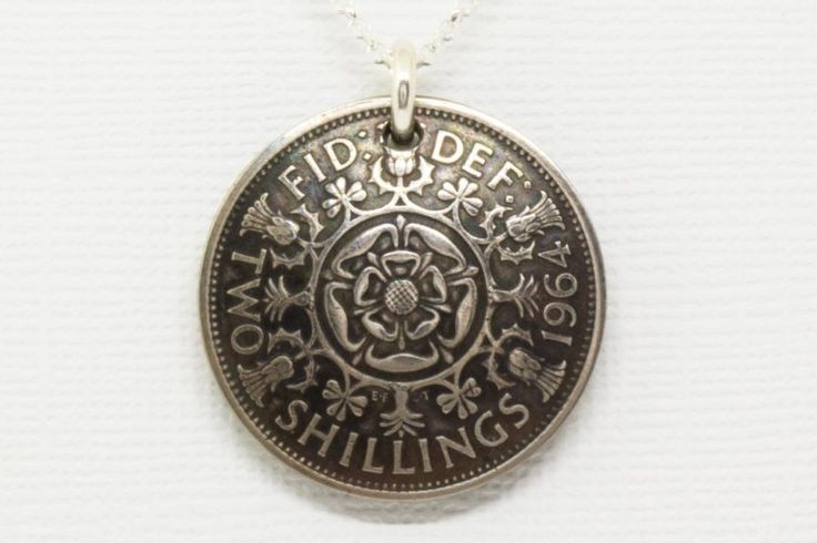 Pendant Handmade from Vintage United Kingdom 2 Shillings with Solid Sterling Silver Chain