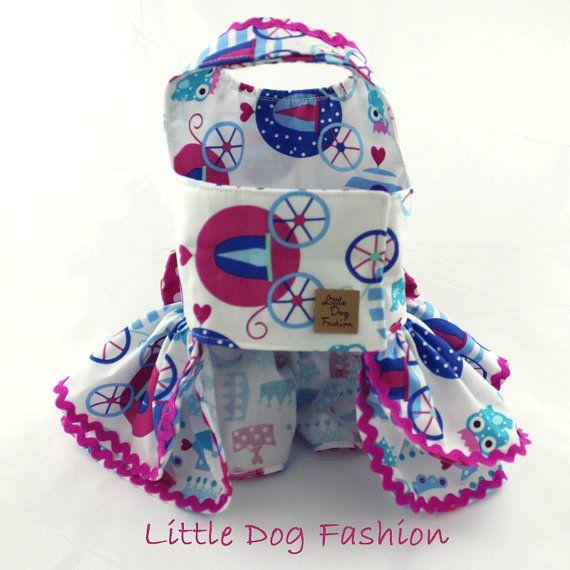 Dog dress princess dog dress harness dog dress blue