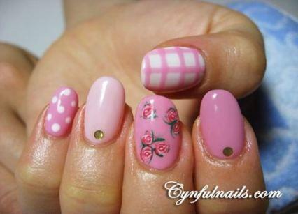 Nails Design Spring Pink Polka Dots 66+ New Ideas