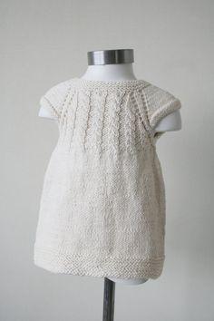 Robe de fille 100 % coton bonneterie crème à main par CasitadeLana